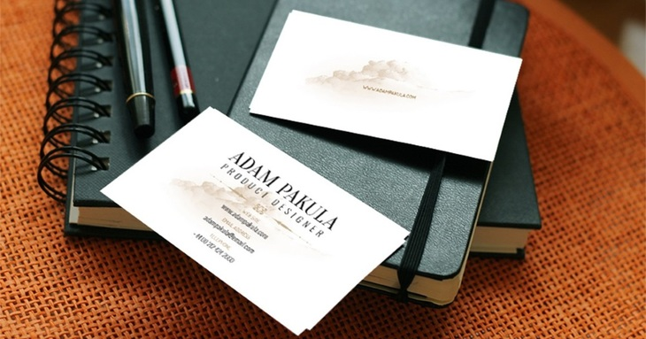 Photorealistic Business Card Mockup on Leather Background