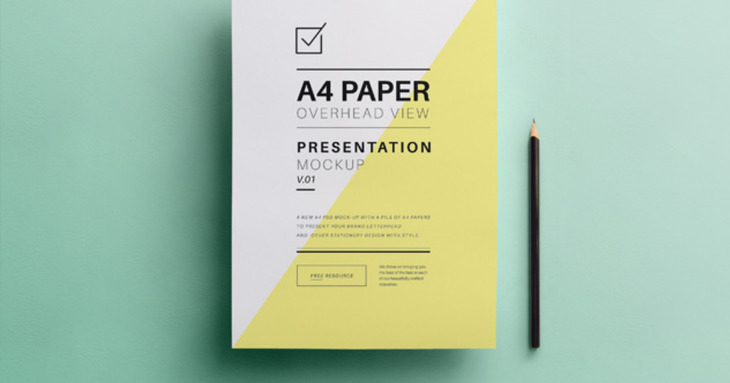 Overhead A4 PSD Paper Mock-Up