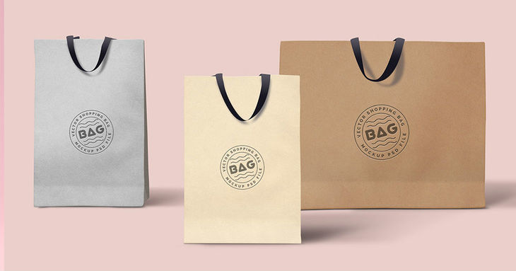 Shopping Bags PSD Template Triple Mockup