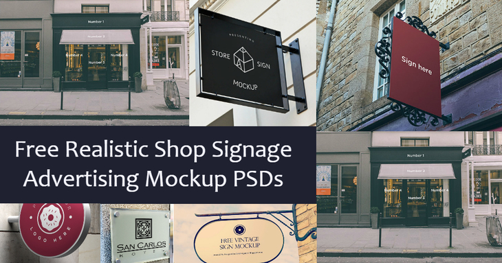 10 Free Realistic Shop Signage Advertising Mockup Psds