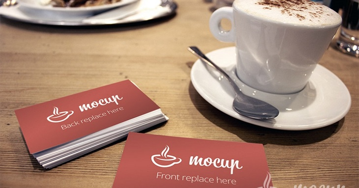 Free Business Card Mockup WIth Cup of Coffie